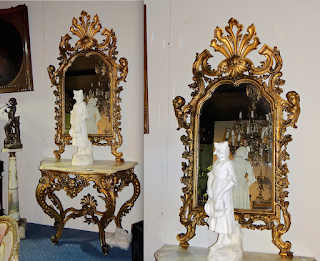 Зеркало и столик 19-й век. Дерево, резьба, позолота, мрамор.