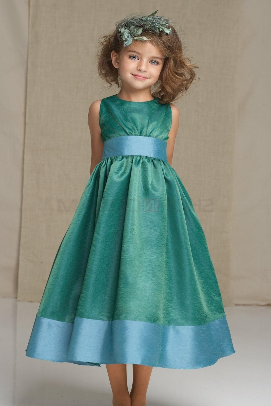A-line jewel draped ribbon taffeta tea-length green flower girl dress