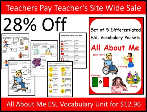 Teachers Pay Teacher's Site Wide Sale - All About Me ESL Vocabulary Unit