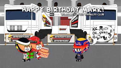 Педро де ла Роса и Михаэль Шумахер поздравляют Марка Уэббера с днем рождения by Los MiniDrivers