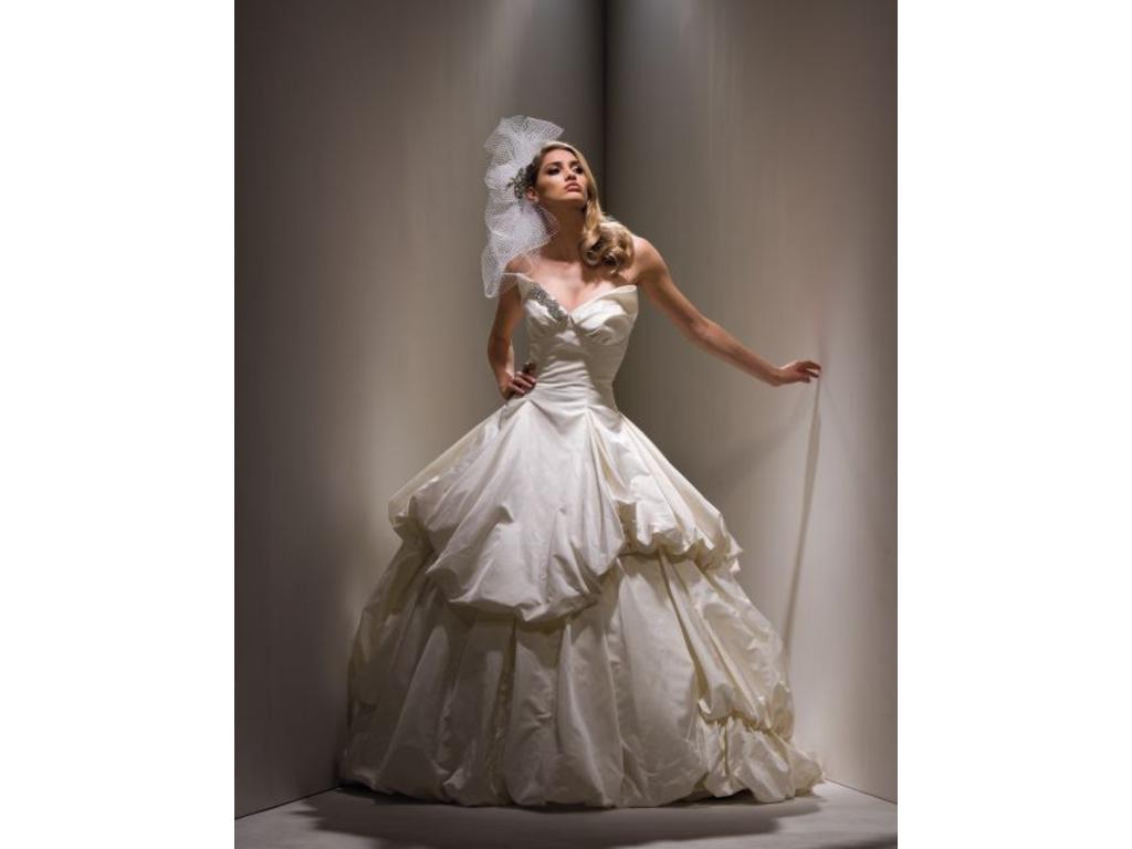 white peacock wedding dress