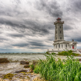 Point Abino Lighthouse by Vanko Dimitrov - Buildings & Architecture Public & Historical ( clouds, green, dark, lighthouse, summer, lake )