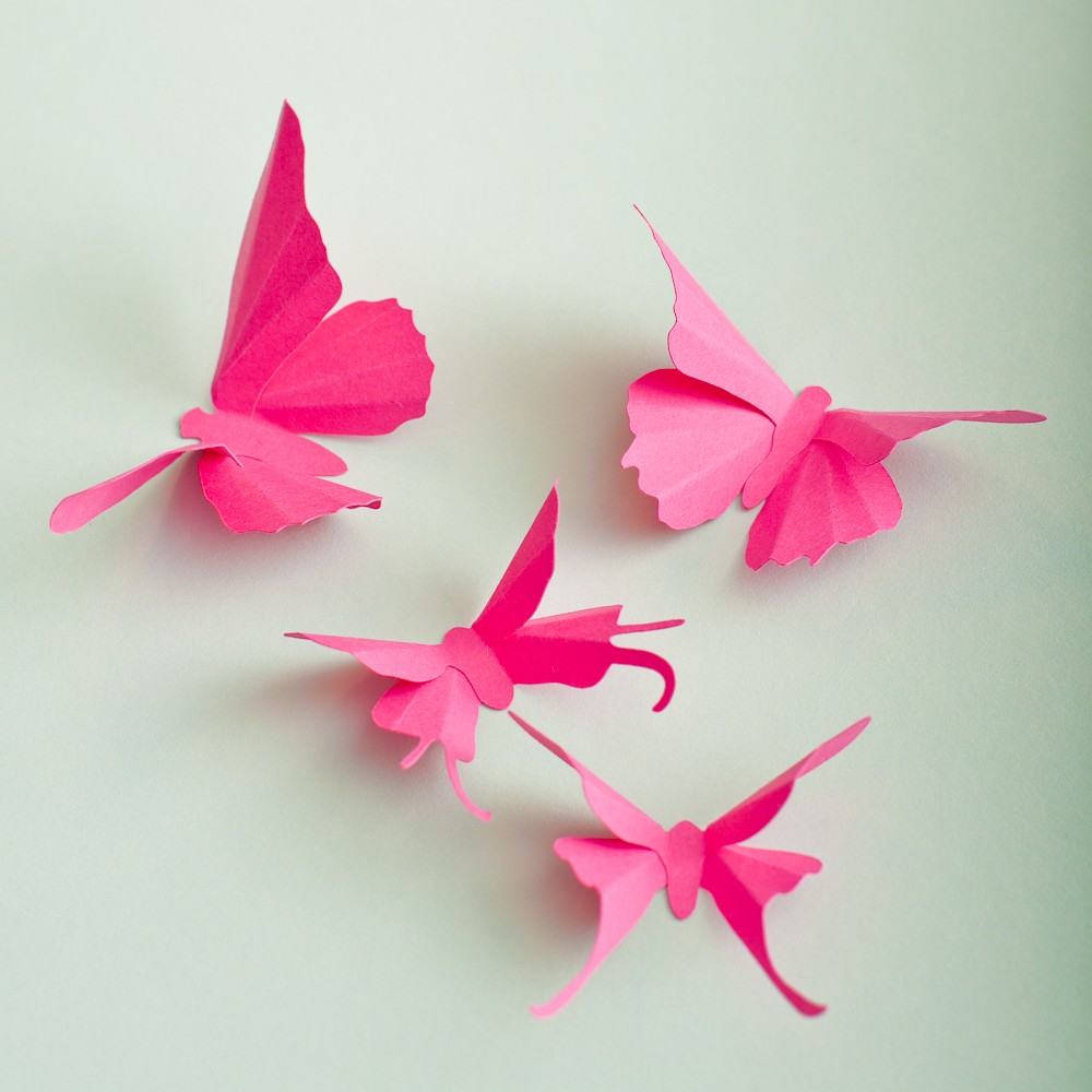 10 Fuchsia Pink Butterfly