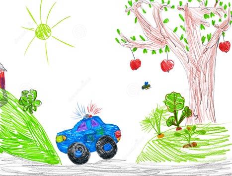 carro-e-natureza-de-polícia-desenho-da-criança-37504628