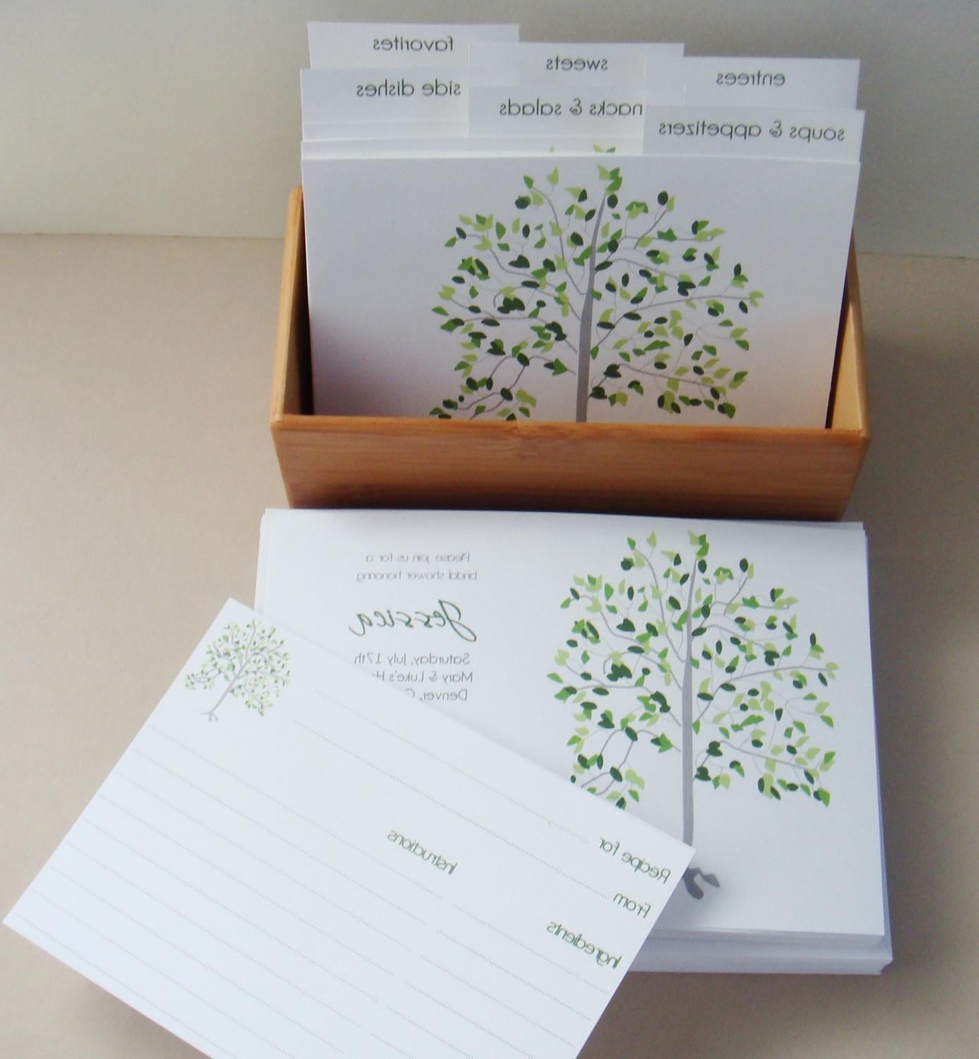 Bridal Shower Set- 20 Invitations and Recipe Box- Aspen Tree Design