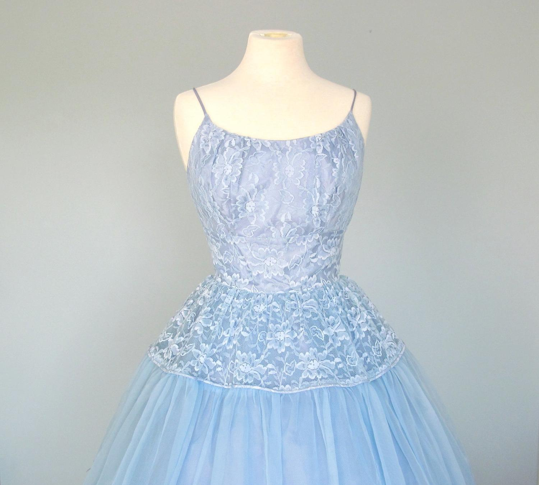 1950s Blue Prom Dress.