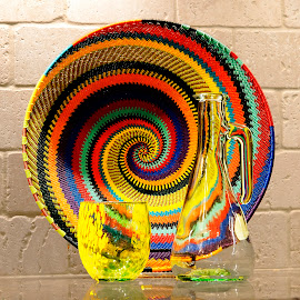 Spiral Basket and Glass by Dee Haun - Artistic Objects Cups, Plates & Utensils ( artistic objects, decanter, spiral plate, yellow pattern glass, utensils, 180703f3488ce1,  )