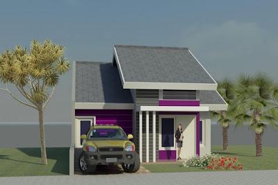 contoh 3d desain rumah type 45 dari depan