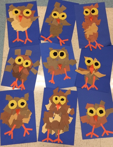 Art with mr giannetto kindergarten owlets for Simple fall crafts for kids