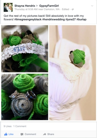 lime green, grey and black burlap wedding