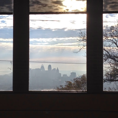 Cincinnati skyline through windows