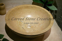 "D17 x H6"" Unrimmed Vessel Sink Polished Light Saffron Marble."