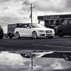 St. Anne's by James Johnstone - Black & White Street & Candid ( car, reflection, white, puddle, black )