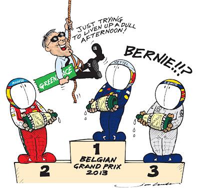 Берни Экклстоун убирает табличку Гринписа с подиума Гран-при Бельгии 2013 - комикс Jim Bamber