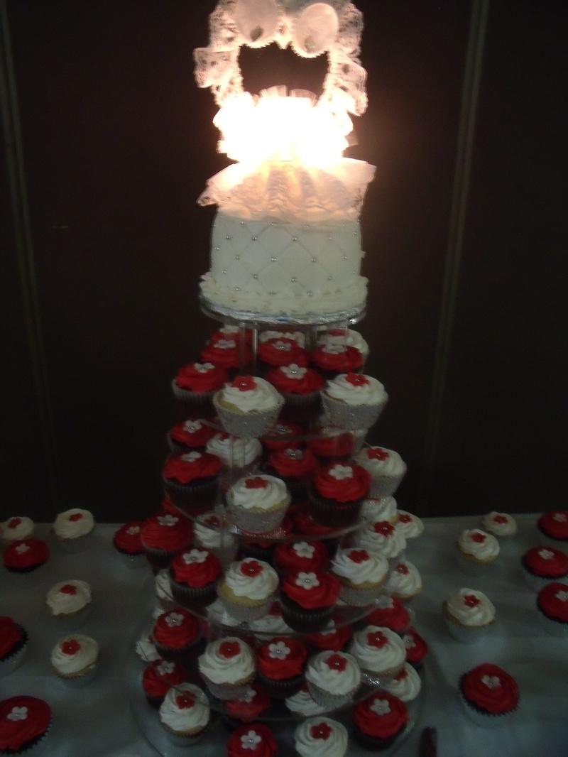 Red And White Flower Cupcake Stand