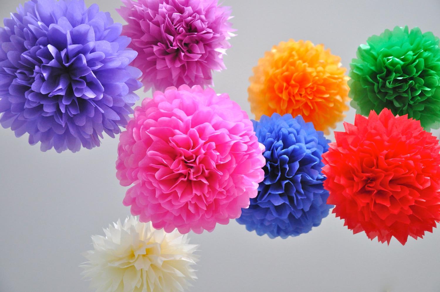 tissue paper pom poms - Wedding Decor Collection - SALE - 40 poms - pick