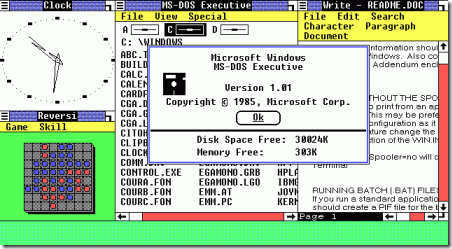 Microsoft Windows 1.01 graafinen käyttöliittymä