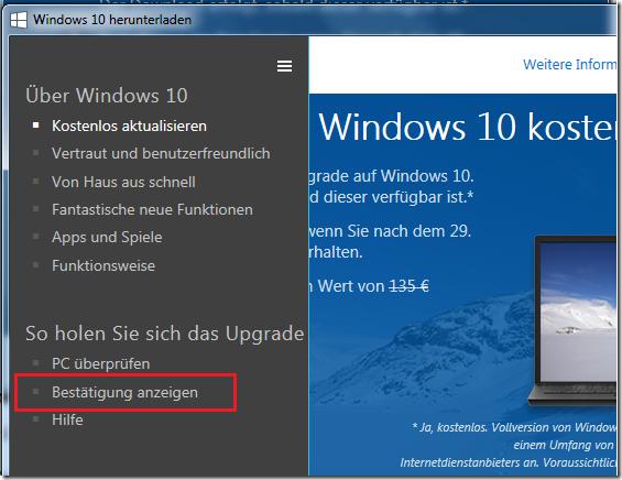 Anleitung: Windows 10 Reservierung stornieren
