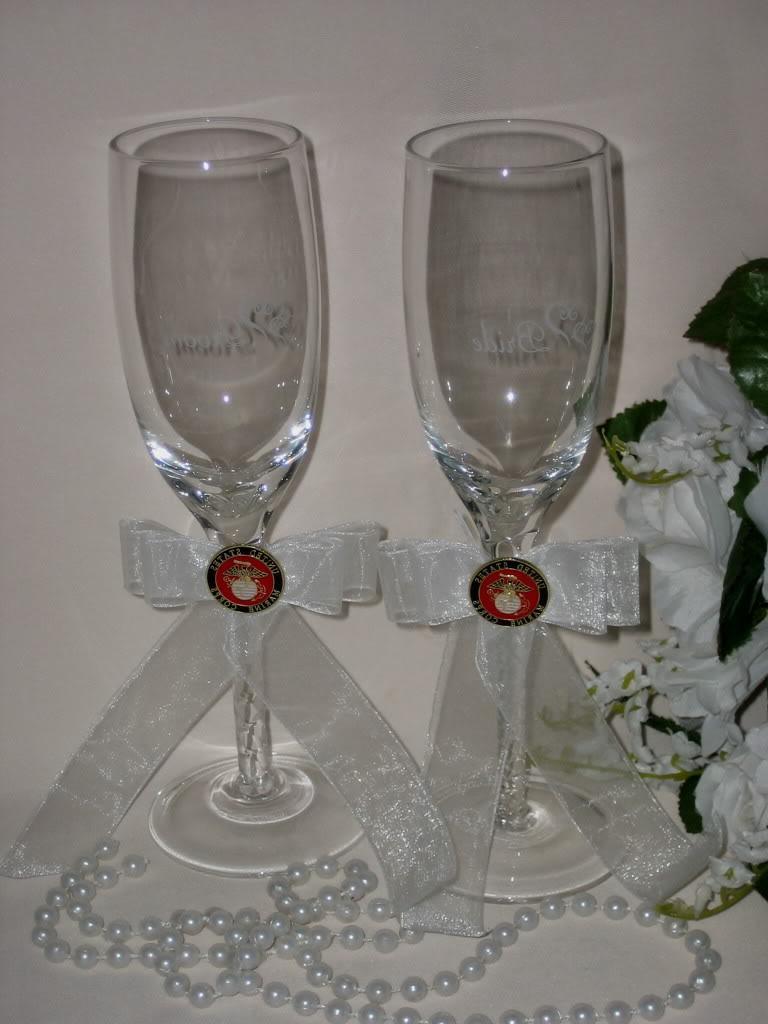 U.S. MARINE MILITARY WEDDING BRIDE & GROOM TOASTING GLASSES