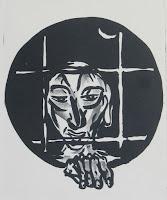Dej BAO. 034 A . Un Chemin dans la Pierre . 1977 . Lithographie . 74 x 32 cm