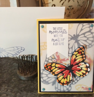 Monarch Butterfly Card with Stampin' Up!'s Watercolor Wings and Butterflies Framelits www.MarionCreates.com