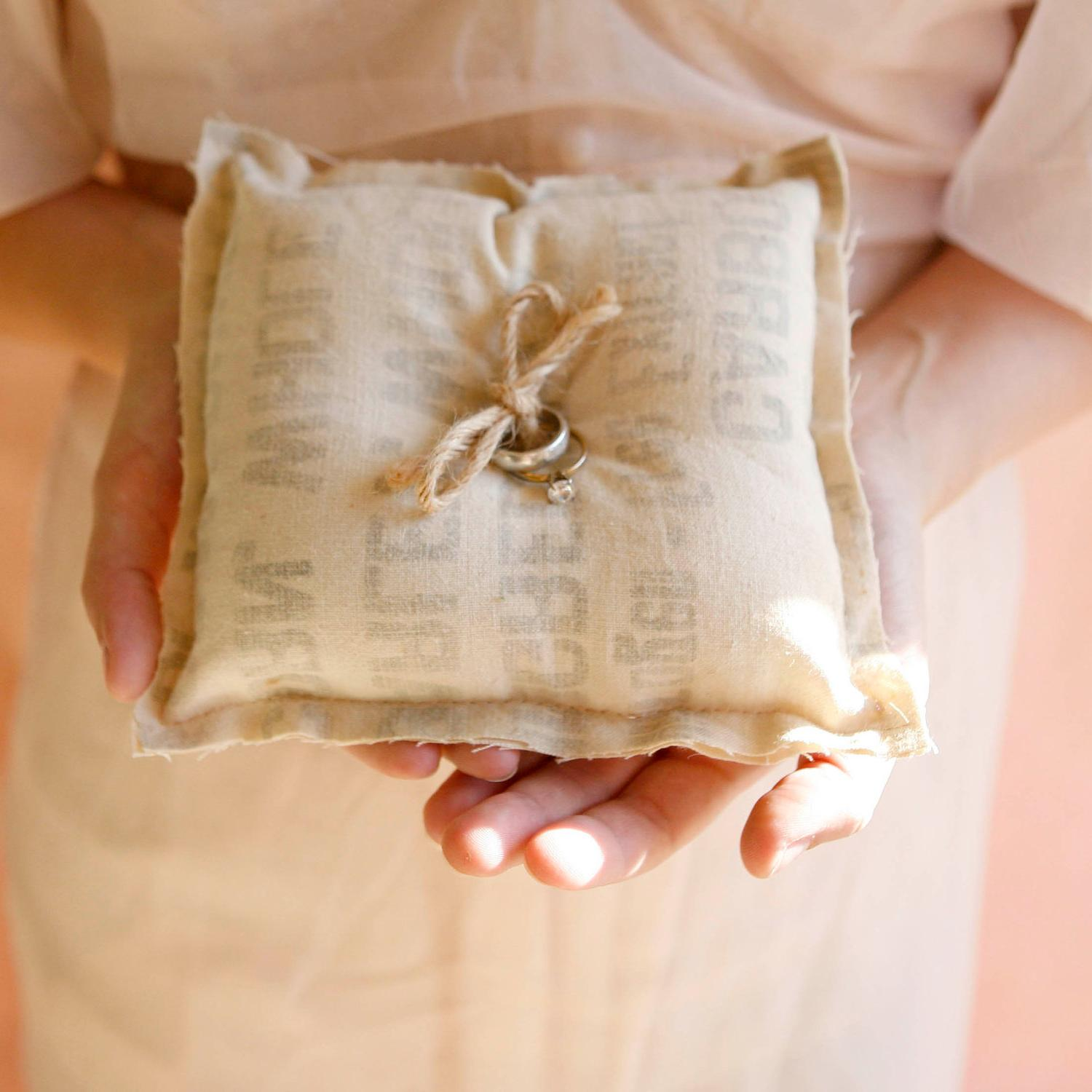 rustic feedsack wedding ring bearer pillow. From whichgoose