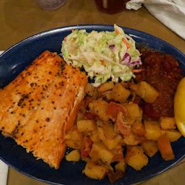 Chuck Wagon -  Salmon Dinner by Rita Goebert - Food & Drink Plated Food ( bryce canyon national park; ebenezer's barn; salmon dinner; chuck wagon menu item )