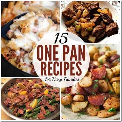 15 One Pan Dinner Recipes - Perfect for not making a huge mess in the kitchen at the end of a long day! Lots of yummy recipes families will love.