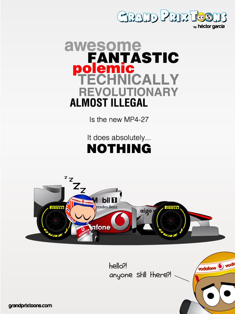 Льюис Хэмилтон и Дженсон Баттон на презентации McLaren MP4-27 - комикс Grand Prix Toons