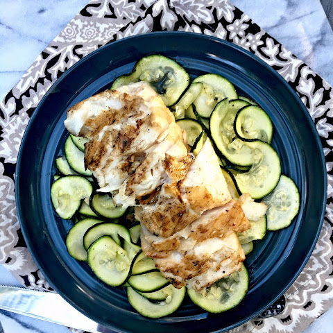 Thai Marinated Grilled Fish Fillets over Zucchini Noodles