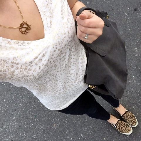 monogram necklace, how to wear leopard shoes
