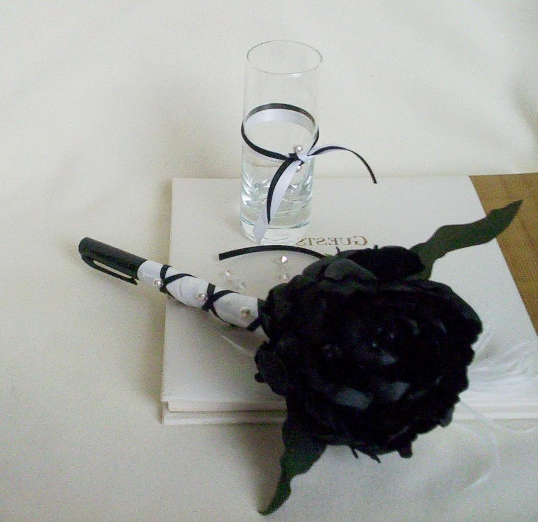 Black Flower Pen Wedding