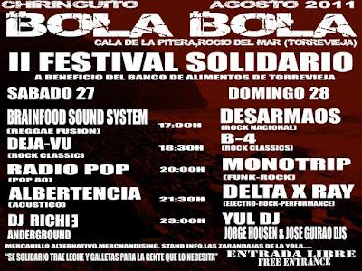 Cartel para la actuación en acústico de Albertencia en el 'Bola Bola' de 'Rocio del Mar' en Torrevieja este sábado 27-08-2011