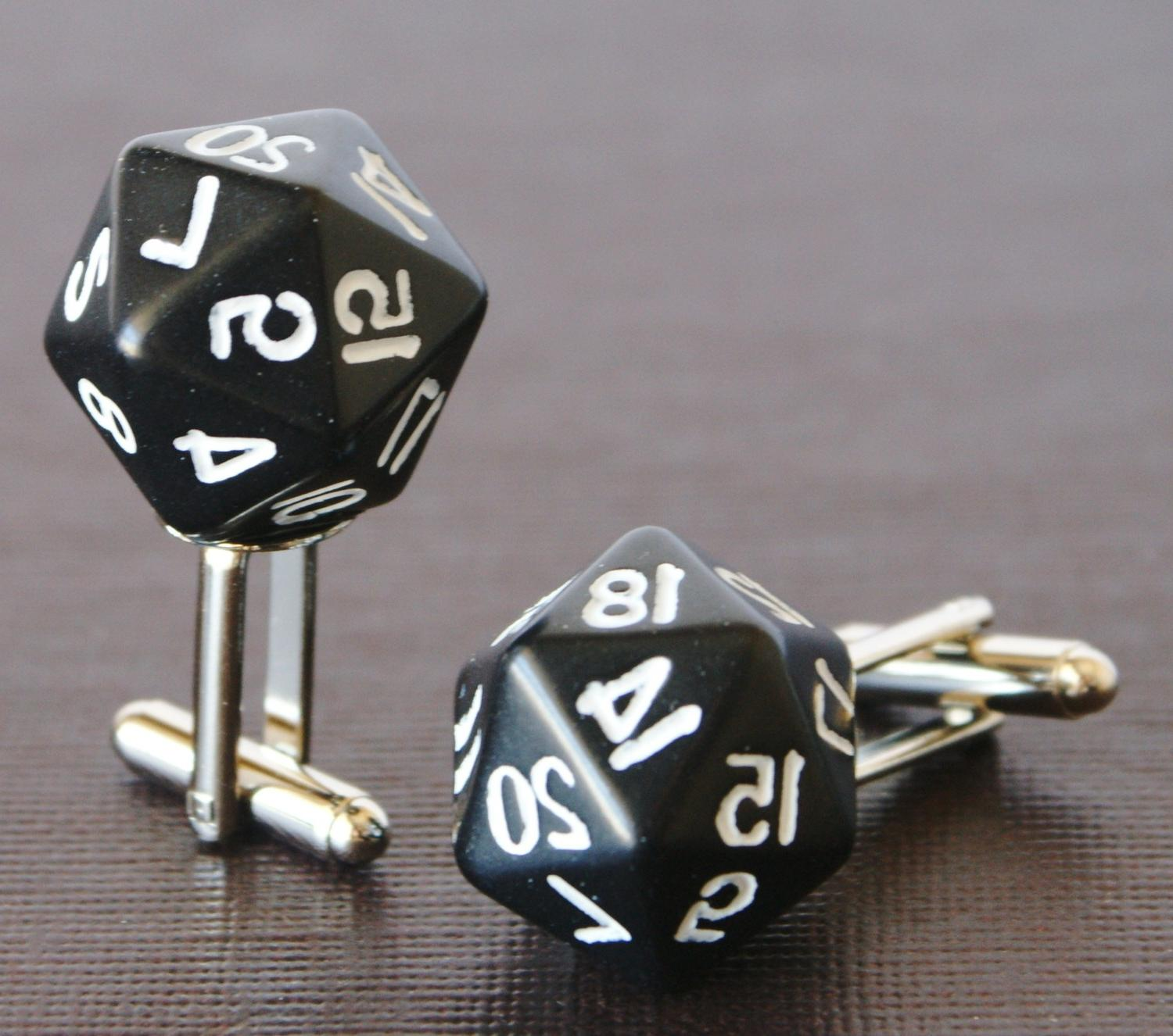 Black 20 Sided Dice Cufflinks