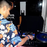 DJ BYTE showing skill in the lounge in Tokyo, Tokyo, Japan