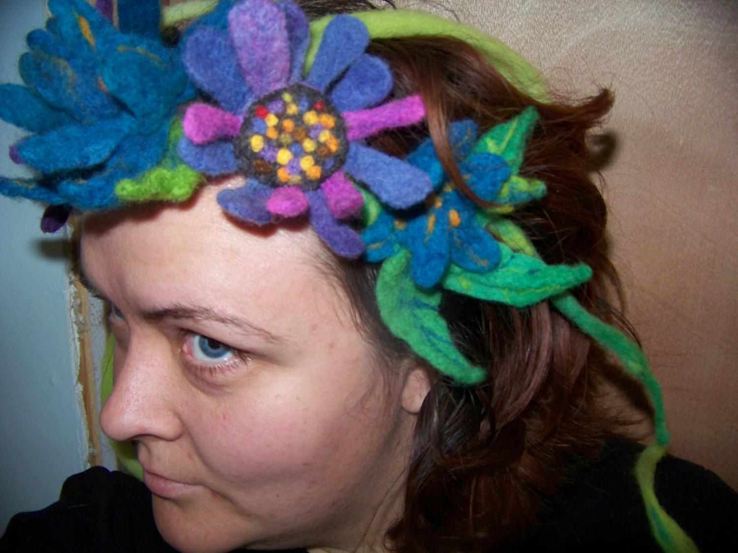 Any wool flower head piece
