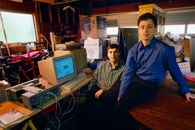 Sergey and Larry Brin in Menlo Park garage where Google started