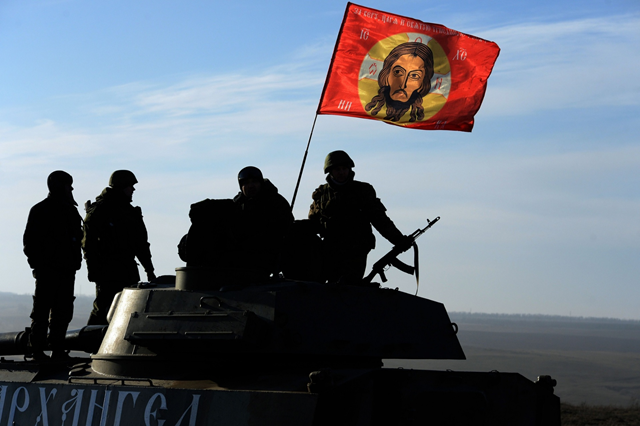 Pro-Russia militants near the eastern Ukrainian city of Starobeshevo. Photo: Vasily Maximov / AFP / Getty Images