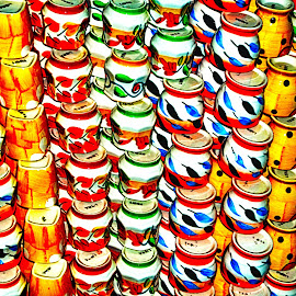 Colorful mugs by Pravine Chester - Abstract Patterns ( colorful objects, cups, colors, utensils, artistic objects, photography, mugs )