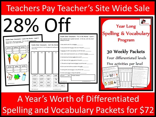 Teachers Pay Teacher's Site Wide Sale - Year Long Differentiated Spelling and Vocabulary Packets