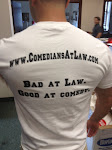 The back of the Comedians at Law official t-shirt