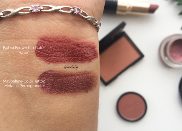 bobbi brown lip colour in raisin and maybelline color tattoo in metallic pomegranate swatches on nc40 skin