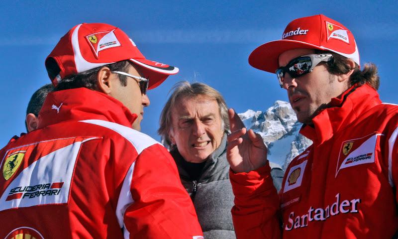 Лука ди Монтедземоло подходит к разговаривающим Фелипе Массе и Фернандо Алонсо на Wrooom 2012