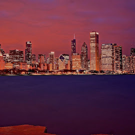 purple chicago by Fraya Replinger - City,  Street & Park  Skylines ( chicago skyline, night photography, purple, chicago, nightscape, city )