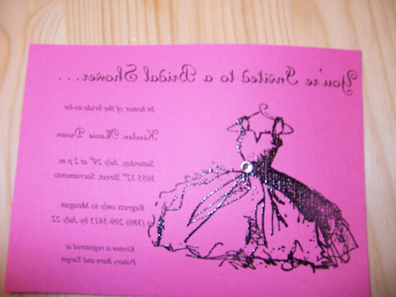 Wedding Dress Bridal Shower Invitation- 20 Invites- 20 Envelopes
