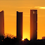 Salida del sol por las 4 torres de Castellana de Madrid