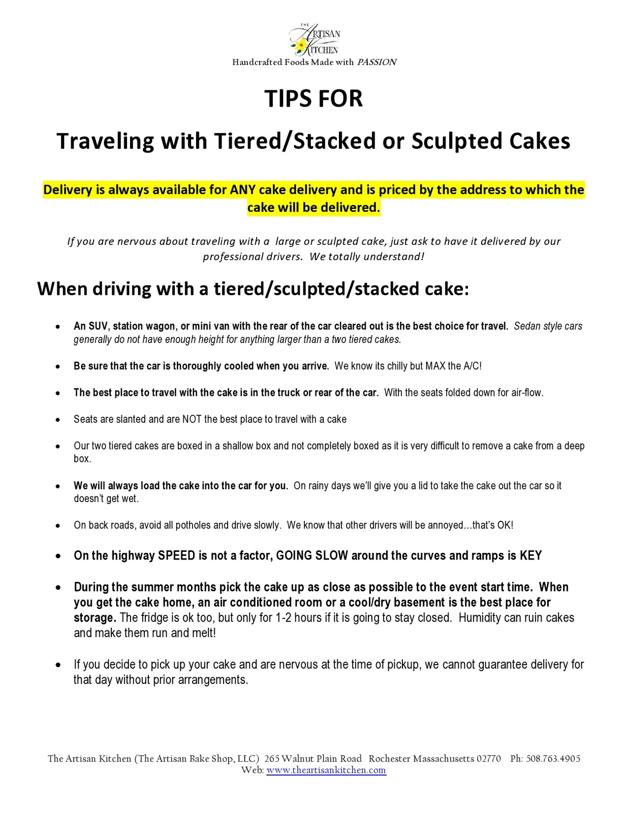 wedding cakes in a car