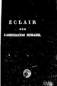 Cover of Louis Claude De Saint Martin's Book Eclair sur l'Association Humaine (1797,in French)