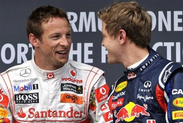 Дженсон Баттон и Себастьян Феттель лицом к лицу после квалификации на Хунгароринге на Гран-при Венгрии 2011