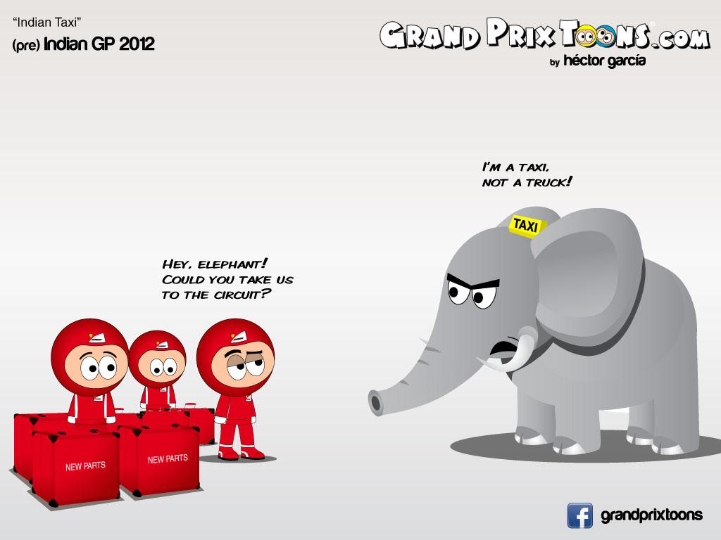 механики Ferrari с ящиками и слон-такси - комикс Grand Prix Toons перед Гран-при Индии 2012